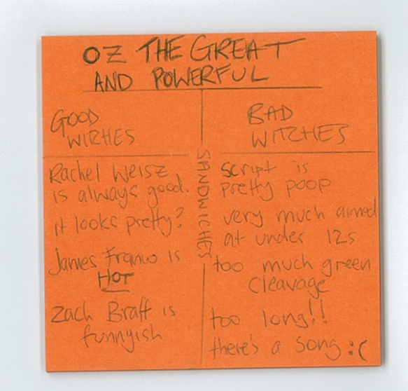 Oz The Great and Powerful postit review